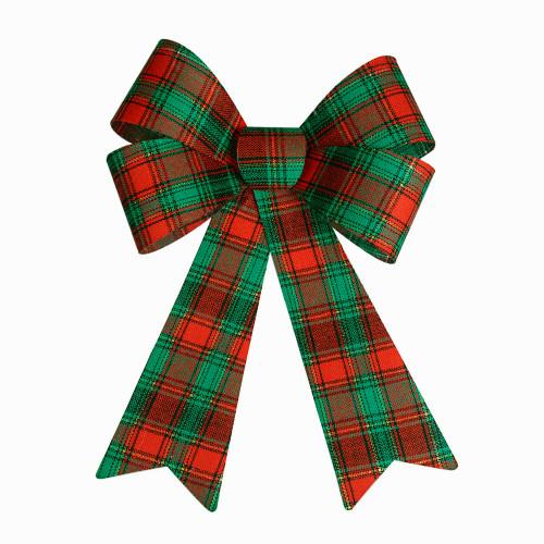 Tartan Fabric Seasonal Bow 40cm/16 Inches