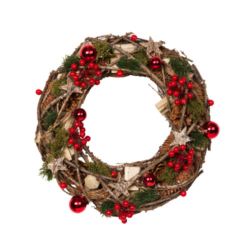 Bauble, Berry and Bark Star Twig Wreath
