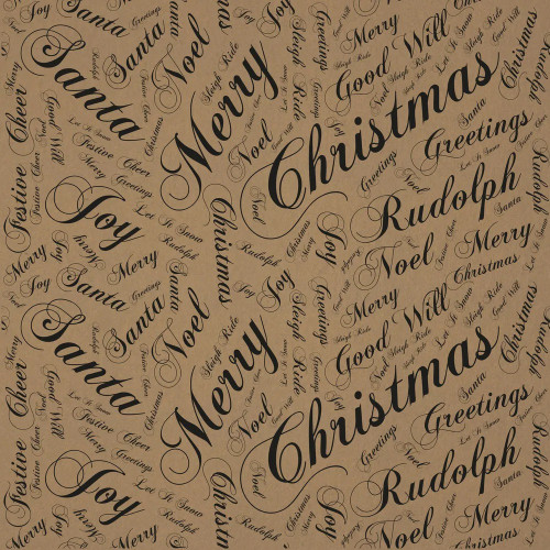 Natural Kraft Paper Roll With Printed Seasonal Greetings