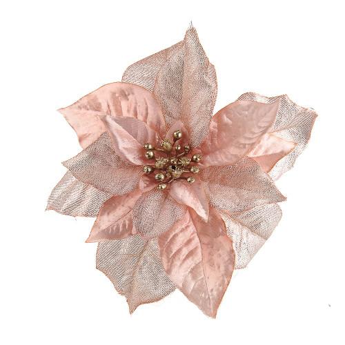 Pink Faux Silk Poinsettia Clip Decoration