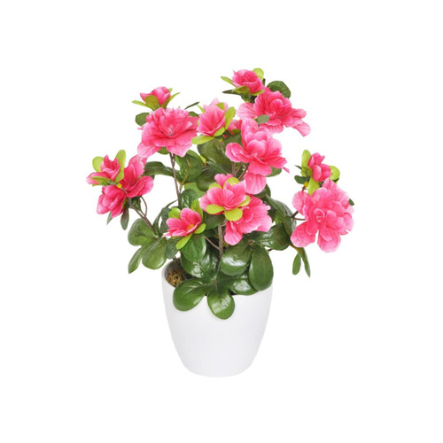 Artificial Mini Azalea in White Pot Pink