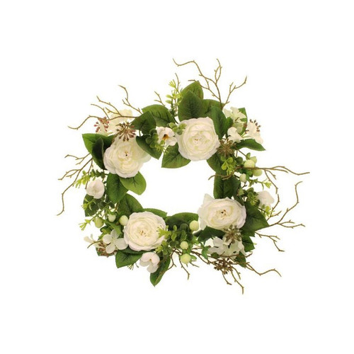 Faux Silk Rose Hypericum Wreath Cream