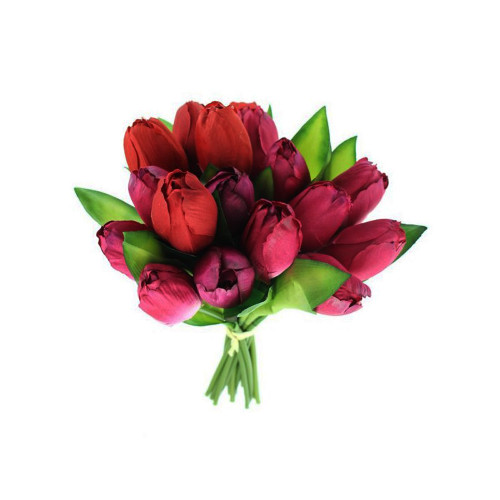 Faux Silk Tulip Posy Red and Purple