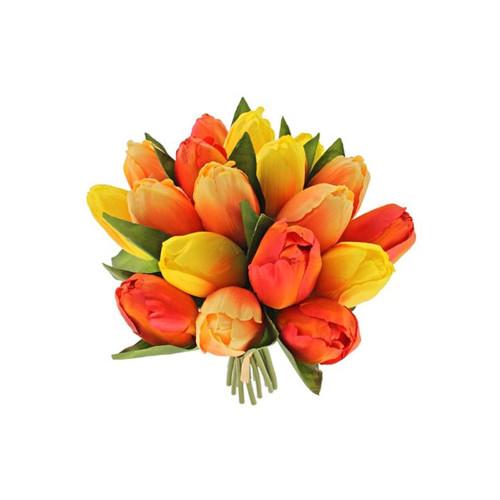 Faux Silk Tulip Posy Orange and Yellow
