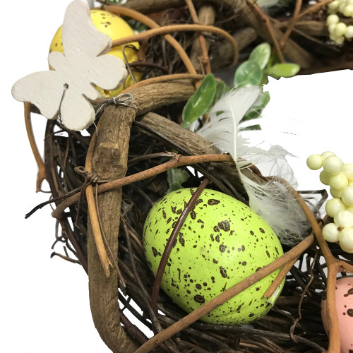 Egg and Feather Twig Wreath detail