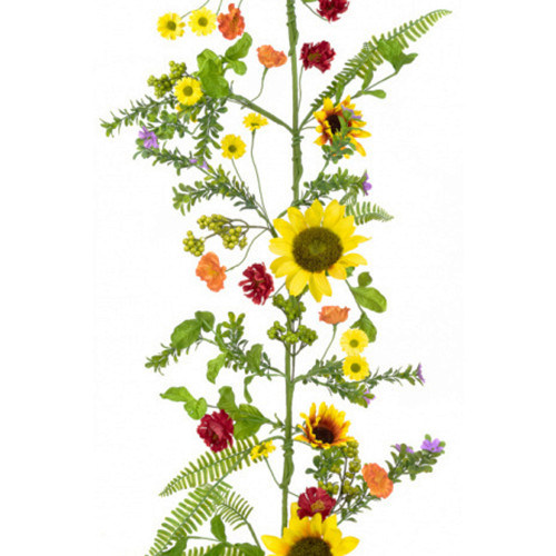 Sunflower and Foliage Faux Silk Spring Garland 180cm/6ft