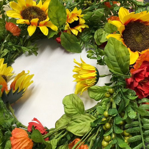 Sunflower and Foliage Faux Silk Spring Wreath detail