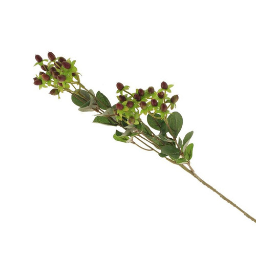 Artificial Hypericum Spray With Berries Burgundy
