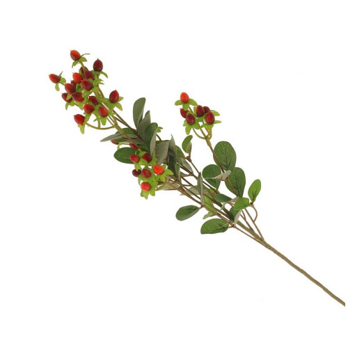 Artificial Hypericum Spray With Berries Red