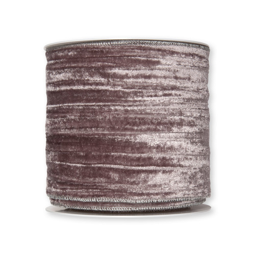 Velvet Crushed Ribbon 100mm x 8m Grey