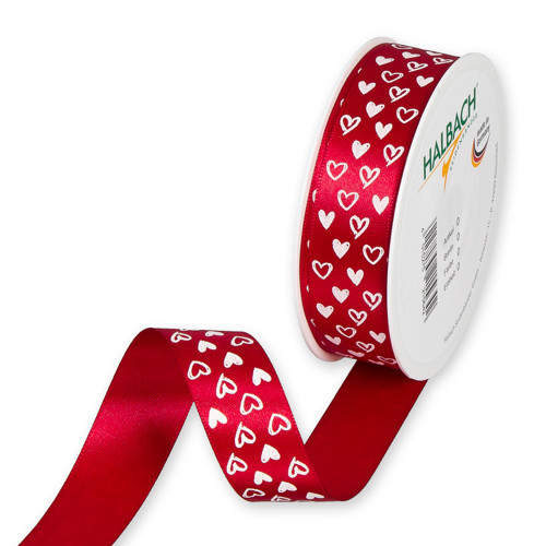Red Satin Valentine Ribbon With Heart Motif