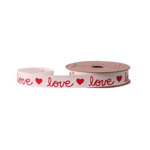 Cream Valentine Ribbon With Red Love & Heart