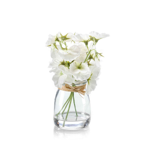 Artificial Silk Sweet Pea Bunch in Glass White