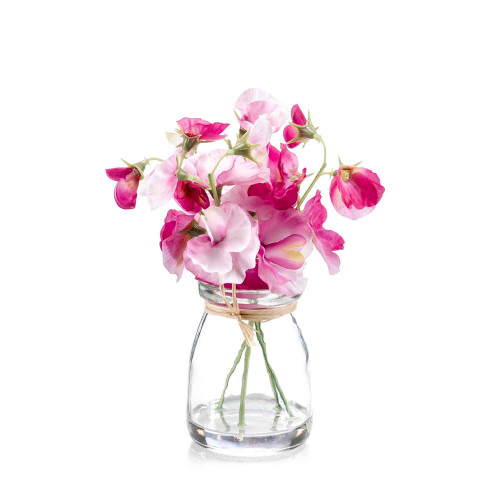 Artificial Silk Sweet Pea Bunch in Glass Pink