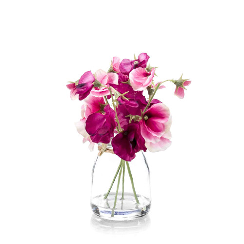 Artificial Silk Sweet Pea Bunch in Glass Mauve
