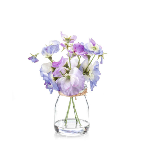 Artificial Silk Sweet Pea Bunch in Glass Purple
