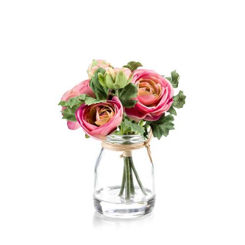 Artificial Ranunculus Posy in Glass Jar Pink