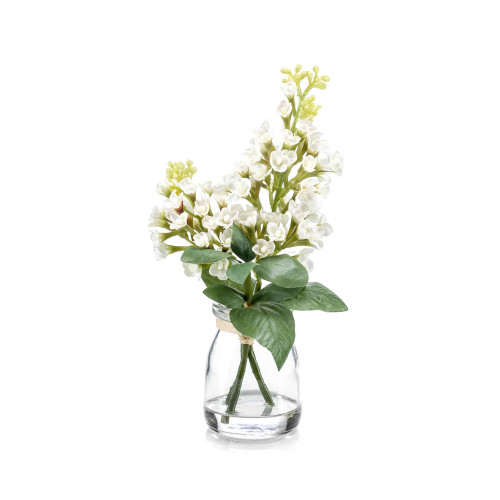 Artificial Syringa Lilac Bunch in Glass Jar White