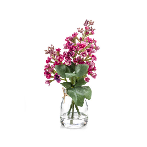 Artificial Syringa Lilac Bunch in Glass Jar Pink