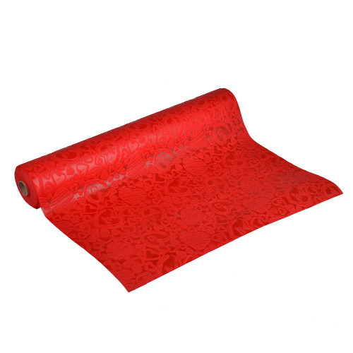 Non Woven Fabric Valentine Wrap 50cm x 10m Red With Hearts