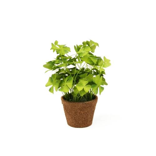 Faux Silk Green Shamrock Oxalis Clover in a Pot 25cm/10 Inches