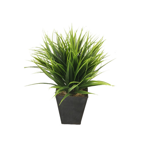 Artificial Green Grass Bush in a Zinc Pot