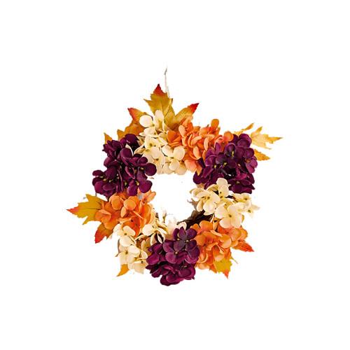 Autumn Faux Silk Hydrangea, Leaf and Vine Wreath