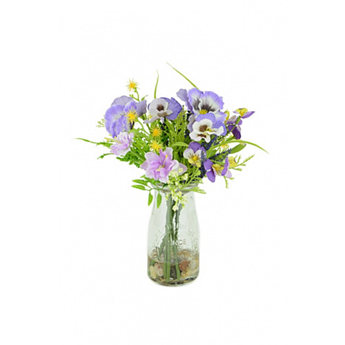 Artificial Silk Pansy & Blossom Summer Mix Lavender