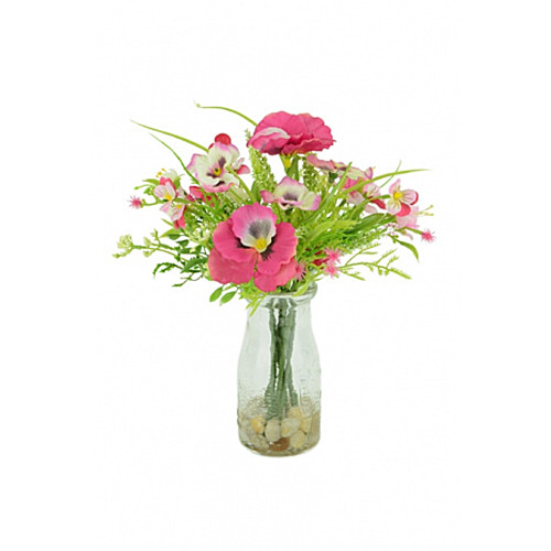 Artificial Silk Pansy & Blossom Summer Mix Pink