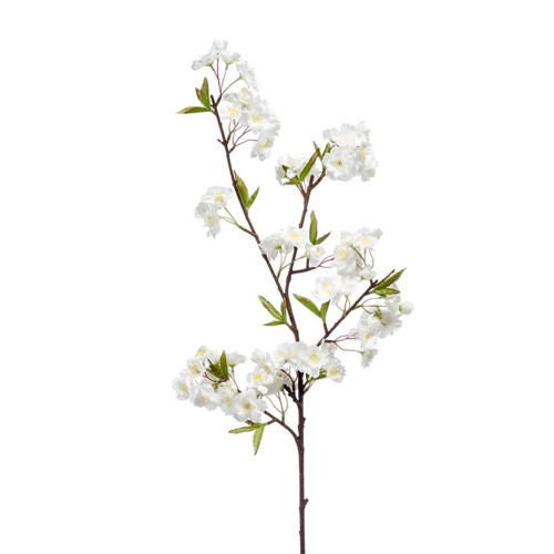 Faux Silk Apple Blossom Stem White