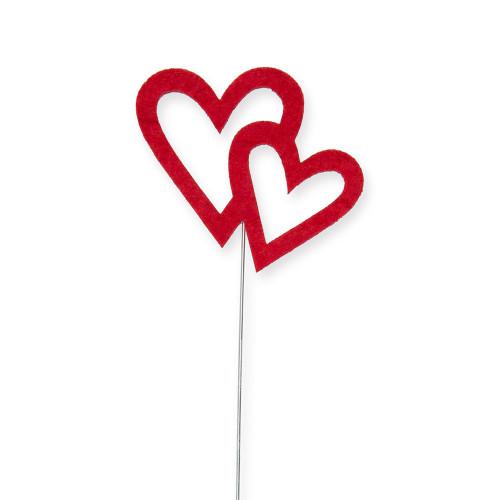 Red Felt Heart Valentine Picks