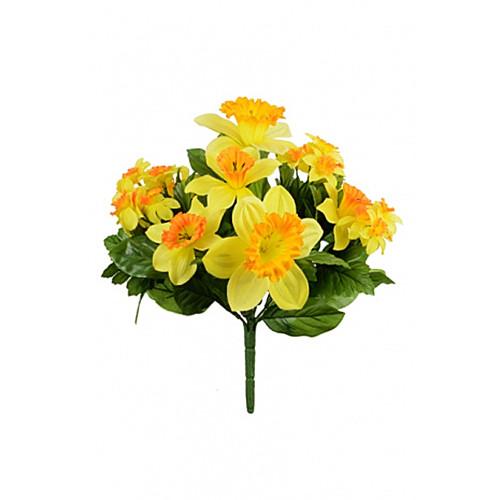 Faux Silk Two Tone Daffodil Bush Orange Yellow