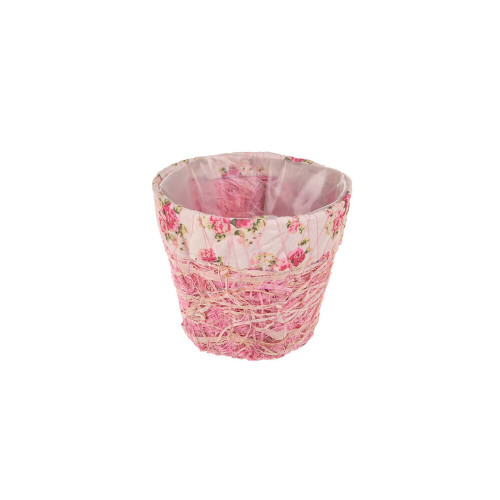 Pink Raffia Floral Pot  10cm