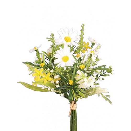 Artificial Summer Daisy Mixed Blossom Bunch Cream Yellow