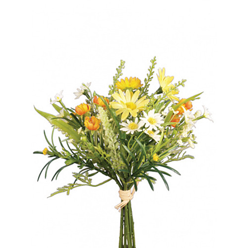 Artificial Summer Daisy Mixed Blossom Bunch Yellow