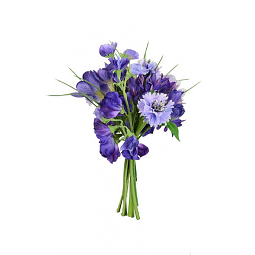 Faux Silk Sweetpea Cornflower Crocus Bunch Purple