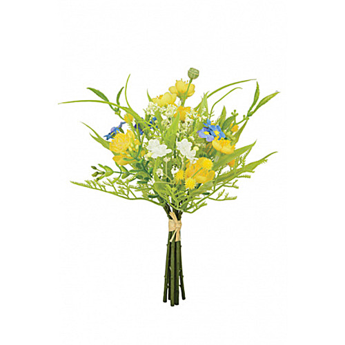 Faux Silk Buttercup and Gypsophila Flower Bundle 20cm/8 Inches Yellow