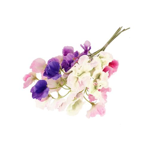 Faux Silk Sweetpea Flowers White Pink Purple