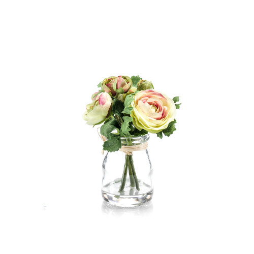 Artificial Silk Ranunculus Posy in Glass Jar Cream Pink Green