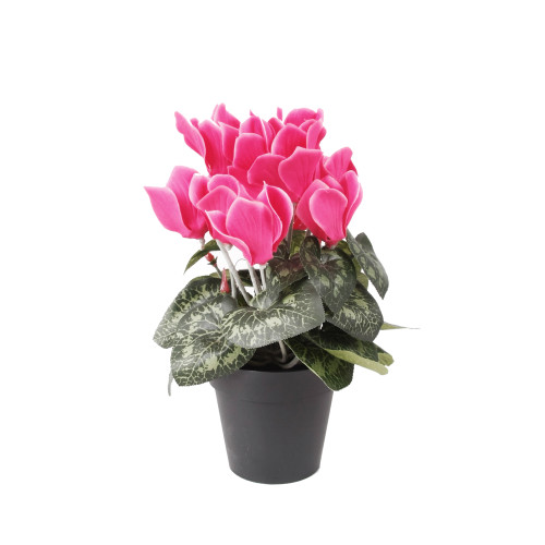 Faux Silk Pink Cyclamen Bush in Pot