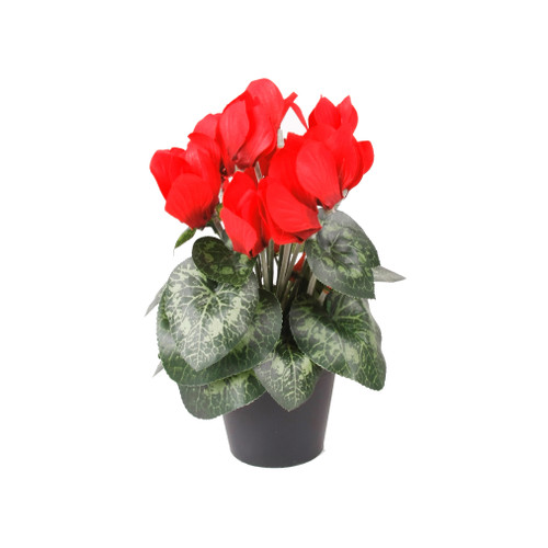 Faux Silk Red Cyclamen Bush in Pot