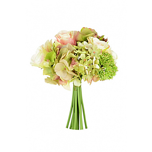 Faux Silk Rose, Hydrangea and Sedum Bouquet
