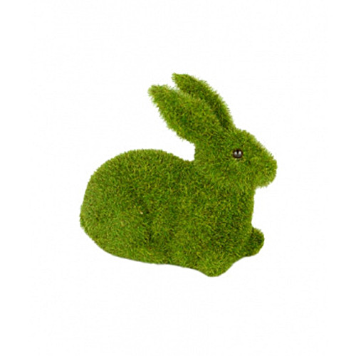 Rabbit Sitting Figure Mossy Green Flocked