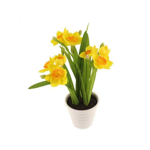 Faux Silk Narcissus Mini Daffodil in a White Pot