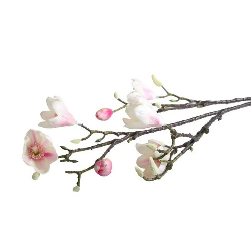 Faux Silk Magnolia Flower Branch Blush Pink