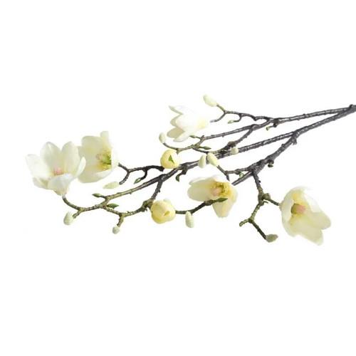 Faux Silk Magnolia Flower Branch Cream