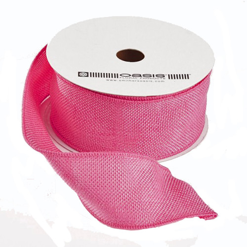 Hessian Ribbon Candy Pink 50mm