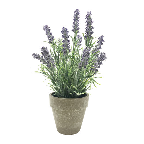 Artificial Lavender Bush Houseplant in Grey Pot