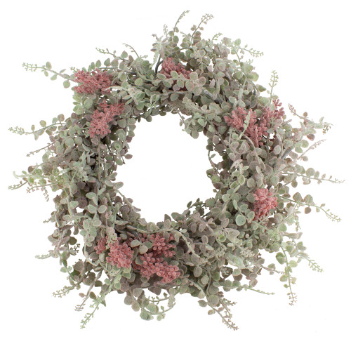Summer Wreath Artificial Succulents Green And Pink