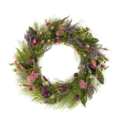 Summer Wreath Dried Flowers Lavender Purple 43cm/17 Inches